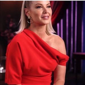Zara red asymmetrical top